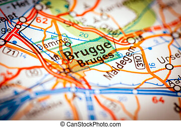 Bruges City on a Road Map - Map Photography: Bruges City on...