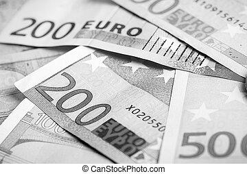 closeup, di, euro, banconote,