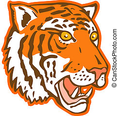 tiger head facing side view - illustration of a tiger head...