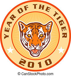 new year 2010 year of the tiger icon - illustration of new...