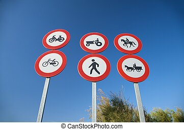 six traffic signs - group of highway access prohibit signals...