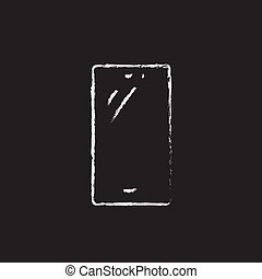 Mobile phone drawn in chalk - Mobile phone hand drawn in...