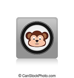 Monkey - an isolated label with a monkey on a white...
