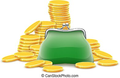 Purse and gold coins cash money. Eps10 vector illustration....