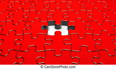 Red Jigsaw Puzzle.