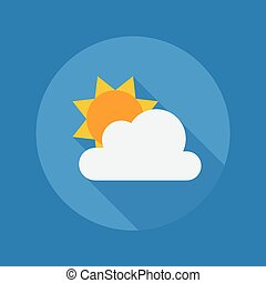 Weather Flat Icon. Partly Cloudy - Weather Flat Icon With...