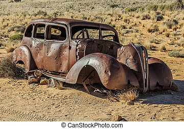 Car wreck - Old car wreck used in diamond theft in Namibia,...