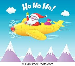 Santa Claus Flying An Airplane - Cartoon illustration of a...