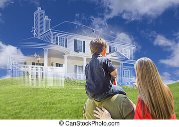 Young Family Facing Ghosted House Drawing Behind - Young...