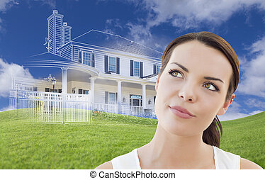 Mixed Race Female Looks Over to Ghosted House Drawing Behind...