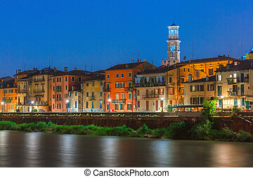 Adige River Embankment in Verona, Italy - Adige River...