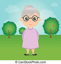 Grandparents Day - a colored background with a grandmother...