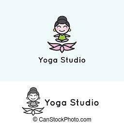 Vector minimalistic young girl cartoon character. Yoga...