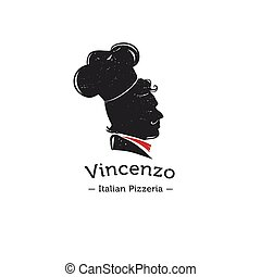 Vector retro logo for Italian restaurant. Cook head...