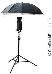 Black studio umbrella isolated on the white