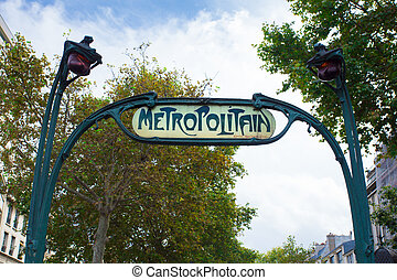 Paris Metro Sign - Street sign for Metropolitan or...