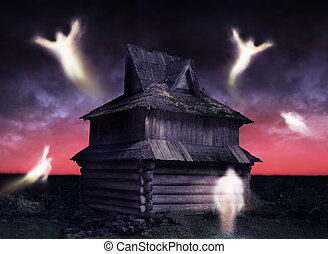 Haunted - Ghosts flying around decrepit and abandoned house