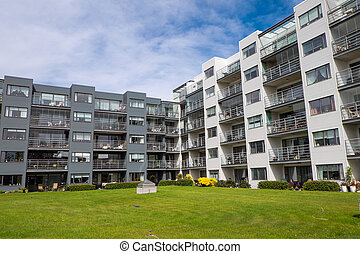 Housing complex in Reykjavik - Modern housing complex seen...