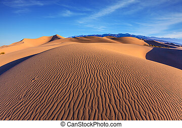 Picturesque part of Death Valley - Bright sunny morning in a...