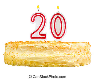 birthday cake with candles number twenty isolated