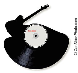 Rock Music Silhouette Record - A vinyl LP record with an...