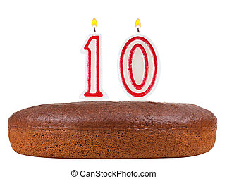 birthday cake with candles number 10 isolated