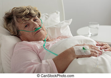 Woman with serious disorder - Aged woman with serious...