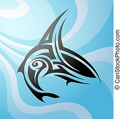 Shark tattoo - Vector illustration with Maori style tattoo...