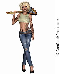 Popstar with Guitar - 3D Render of an Popstar with Guitar