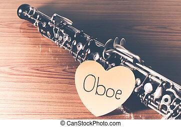 雙簧管, 上, 木頭, 背景,