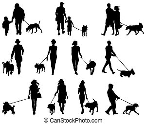 people with dogs - Black silhouettes of people with dogs,...