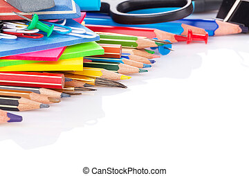 School and office supplies. Isolated on white background...