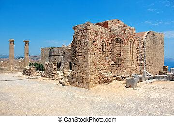 Acropolis of Lindos. Rhodes, Greece - Church of Ayios...