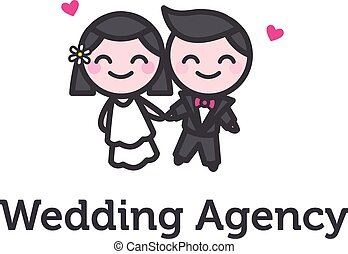 Vector cartoon bride and fiance logotype for wedding agency