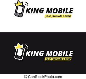 Vector funny mobile logotype. E-shop logo. - Vector funny...