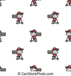 Vector minimalistic young delivery boy character seamless pattern