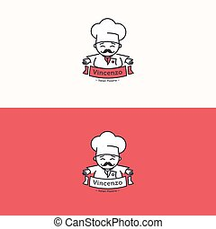 Vector Italian chef head mascot logotype. Pizzeria logo set....