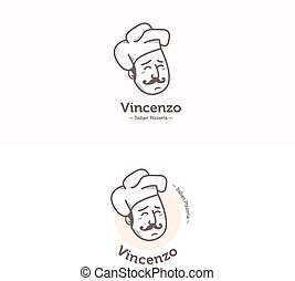 Vector Italian cook head mascot logotype. Pizzeria logo set....