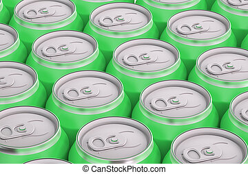 green drink metallic cans, top view