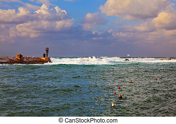 seaport in the storm - Old Jaffa seaport in the storm. Tel...