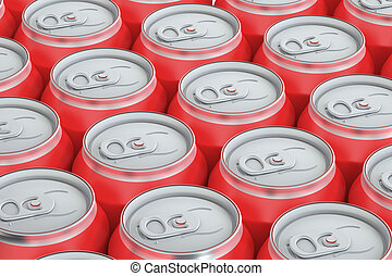 red drink metallic cans, top view