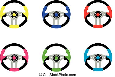 the wheel - steering wheel for car in vector on white...