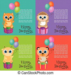 Happy Birthday - Set of backgrounds with animals and...