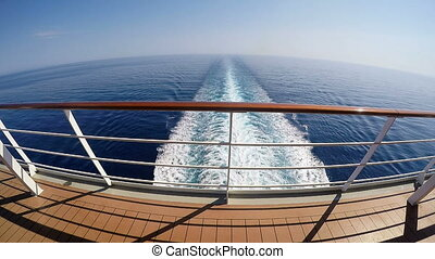 Cruise ship track on the sea - Mediterranean sea from the...