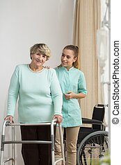Senior lady with walking problems