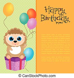 Happy Birthday - Colored background with an animal and...