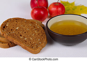 miel, negro, manzanas,  bread