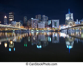 Pittsburgh Night Sky - Pittsburgh Pennsylvania waterfront...