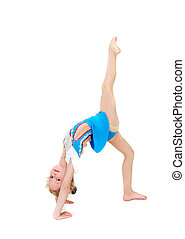 young girl doing gymnastics over white