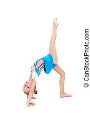 jeune, girl, gymnastique, sur, blanc